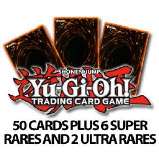 50 Assorted Yugioh Cards plus 6 Super Rares and 2 Ultra Rares