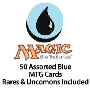 50 Assorted Blue MTG Cards Rares & Uncommons Included