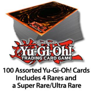 100 Assorted Yugioh Cards Includes 4 Rares and a Super/Ultra Rare
