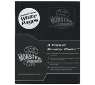 4 Pocket Monster Binder - Black - With NEW White Pages