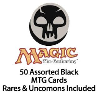 50 Assorted Black MTG Cards Rares & Uncommons Included