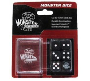 Six Black 6-Sided Monster Dice with Carrying Case