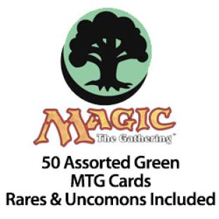 50 Assorted Green MTG Cards Rares & Uncommons Included