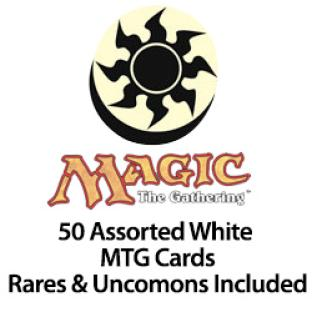 50 Assorted White MTG Cards Rares & Uncommons Included