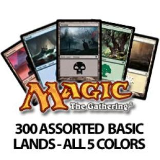 300 Assorted Magic The Gathering Basic Lands Cards - All 5 Colors