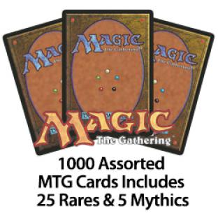 1000 Assorted MTG Cards Includes 25 Rares & 5 Mythics