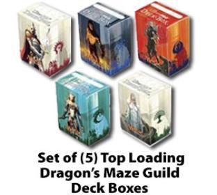 Set of (5) Dragon's Maze Guild Top Loading Deck Boxes