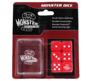 Six Red 6-Sided Monster Dice with Carrying Case