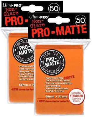 Ultra Pro PRO-MATTE (100 Count) Orange Deck Protector Sleeves Standard Sized
