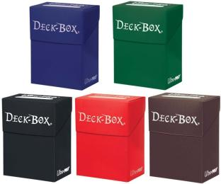 Set of Five Ultra-Pro Deck Boxes (Dark Colors Black, Blue, Brown, Green, Red