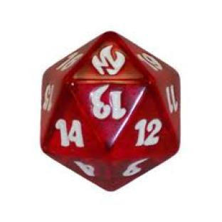 Fire and Lightning Spindown Die D20 (Red)