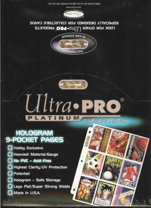 Ultra Pro Platinum 9 Pocket 8x11 Binder Pages Box of 100