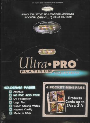 Ultra Pro Platinum 4 Pocket 5x7 Binder Pages Box of 100