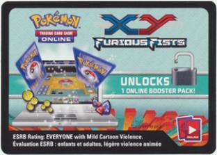 XY Furious Fists Unused Online Pack Code Card (1 Digital Pack)